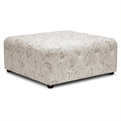 Atlin Designs Square Tufted Coffee Table Ottoman in Beige Print