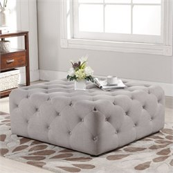 Atlin Designs Square Tufted Coffee Table Ottoman in Beige
