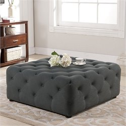 Atlin Designs Square Tufted Coffee Table Ottoman in Gray
