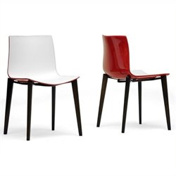 Atlin Designs Dining Chair in White and Red (Set of 2)