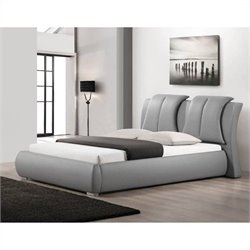 Atlin Designs Queen Faux Leather Platform Bed in Gray