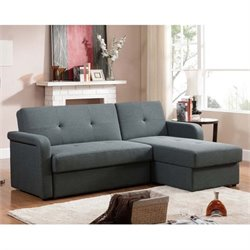 Atlin Designs Fabric Sleeper Right Facing Sectional in Gray