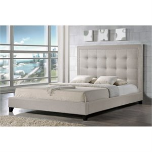 Atlin Designs Platform Bed in Light Beige