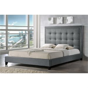 Atlin Designs Tufted Platform Bed in Gray