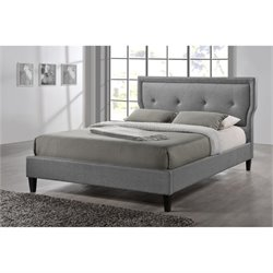Atlin Designs Upholstered King Platform Bed in Gray