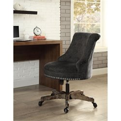 Atlin Designs Armless Upholstered Office Chair in Charcoal Gray