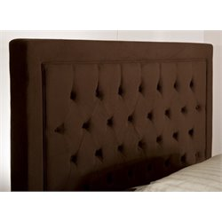 Atlin Designs Tufted King Panel Headboard with Rails in Chocolate
