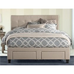 Atlin Designs Upholstered King Storage Panel Bed in Beige