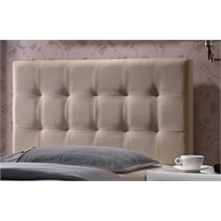 Atlin Designs Upholstered Tufted Twin Panel Headboard in Beige
