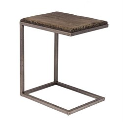 Atlin Designs C Shaped End Table in Washed Charcoal Gray