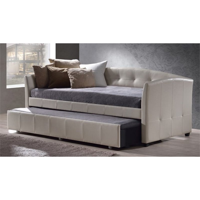 Atlin Designs Upholstered Daybed With Trundle In White