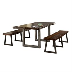 Atlin Designs 3 Piece Dining Set in Gray Sheesham