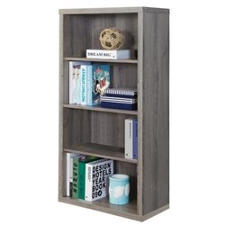 Atlin Designs 4 Shelf Bookcase with Adjustable Shelf in Dark Taupe