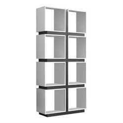 Atlin Designs 8 Cubby Bookcase in White and Gray