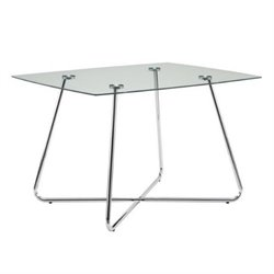 Atlin Designs Glass Top Dining Table in Silver Chrome