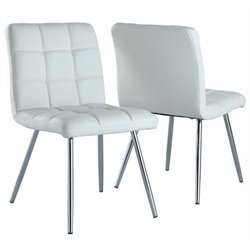 Atlin Designs Faux Leather Dining Chair in White and Chrome (Set of 2)