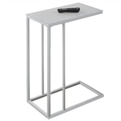 Atlin Designs Accent End Table in White with Frosted Tempered Glass