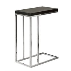 Atlin Designs Metal Accent End Table in Chrome and Cappuccino