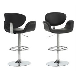 Atlin Designs Faux Leather Adjustable Bar Stool in Chrome and Black