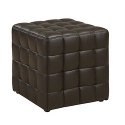 Atlin Designs Faux Leather Ottoman in Dark Brown