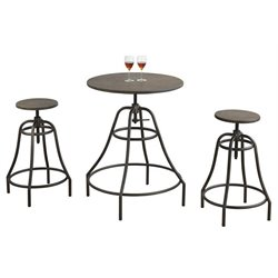 Atlin Designs 3 Piece Adjustable Pub Set in Distressed Brown