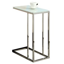 Atlin Designs Glass Top End Table in Chrome