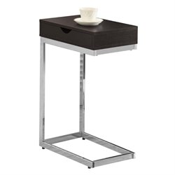 Atlin Designs Drawer End Table in Cappuccino and Chrome