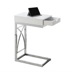 Atlin Designs Metal End Table with Drawer in Glossy White