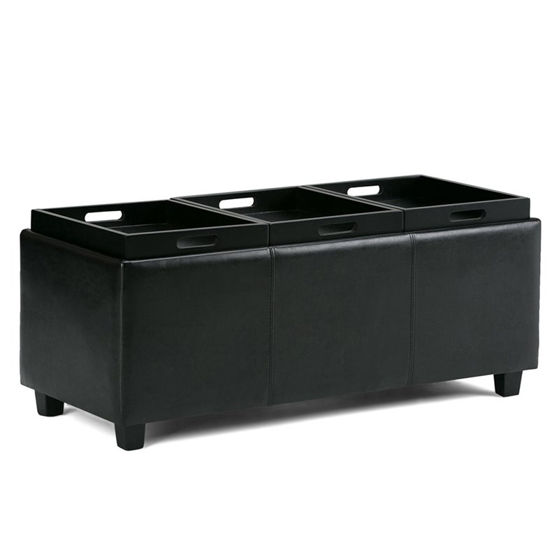 Atlin Designs Faux Leather Storage Bench in Black