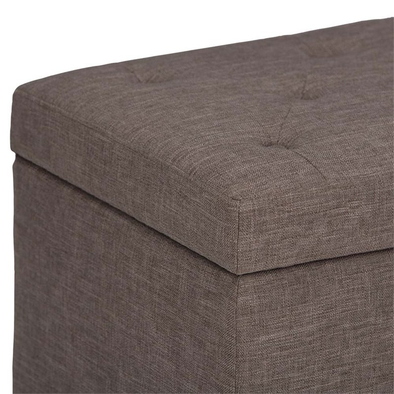 Atlin Designs Fabric Storage Ottoman Bench in Fawn Brown
