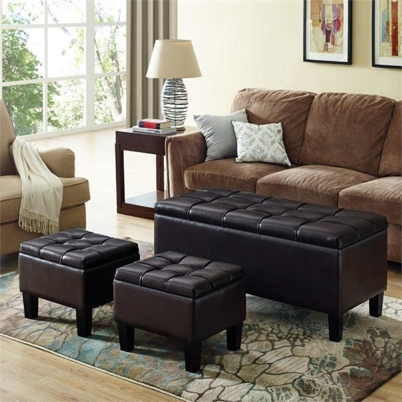 Atlin Designs Faux Leather 3 Piece Storage Ottoman in Brown