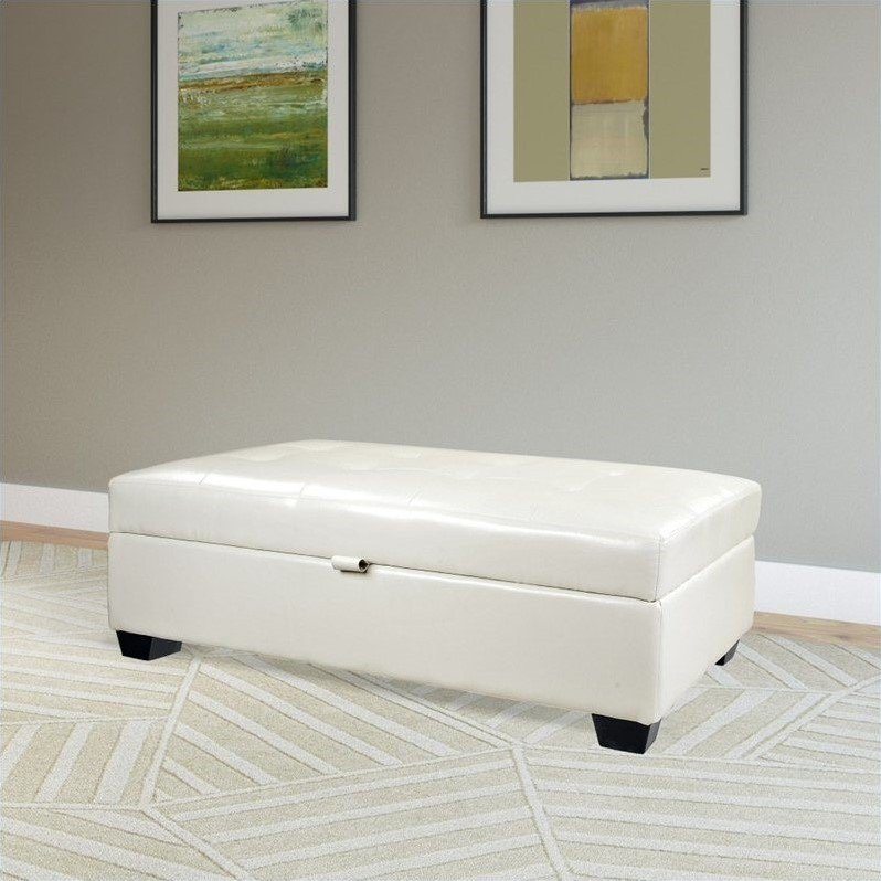 Atlin Designs Bonded Leather Storage Ottoman in White