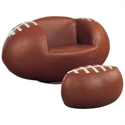 Rosebery Kids Football Swivel Kids Chair and Ottoman in Brown