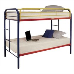 Rosebery Kids Twin Over Twin Bunk Bed in Rainbow