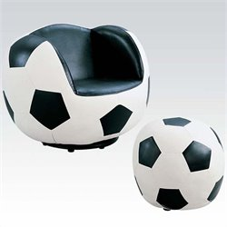 Rosebery Kids Soccer Swivel Kids Chair with Ottoman in Black and White