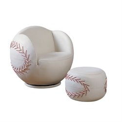 Rosebery Kids Baseball Swivel Kids Chair with Ottoman in White
