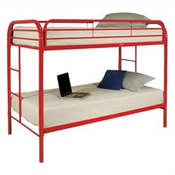 Rosebery Kids Twin Over Twin Bunk Bed in Red