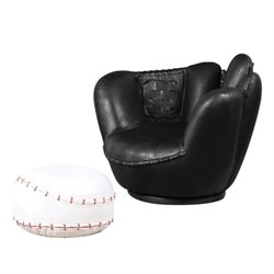 Rosebery Kids Swivel Kids Chair with Ottoman in Black and White
