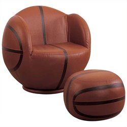 Rosebery Kids Basketball Swivel Kids Chair and Ottoman in Brown