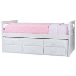 Rosebery Kids Twin Captain's Bed with Trundle in White