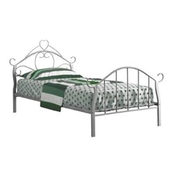 Rosebery Kids Twin Metal Bed Frame with Heart in Silver