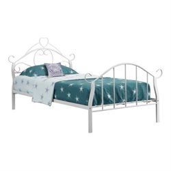 Rosebery Kids Twin Metal Bed Frame with Heart in White