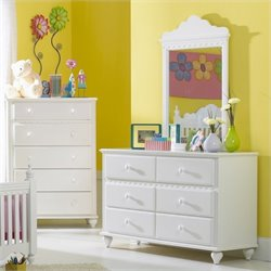 Rosebery Kids 6 Drawer Double Dresser and Mirror Set