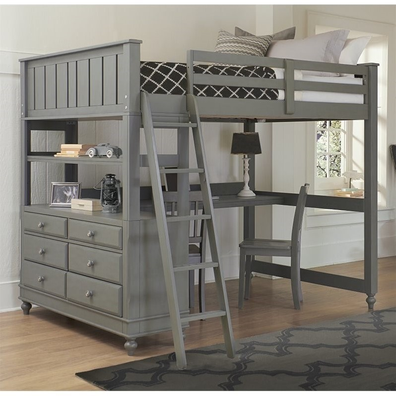 Gentil Details About Rosebery Kids Full Loft Bed With Desk In Stone