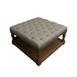 Burnham Home Designs Ottoman in Gray and Linen