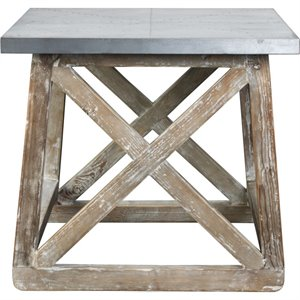 Burnham Home Designs Accent Table in Natural and Zinc Top