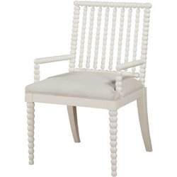 Burnham Home Designs Dining Arm Chair in White and Light Linen