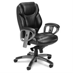 Mayline Ultimo Executive Mid Back Leather Chair in Black