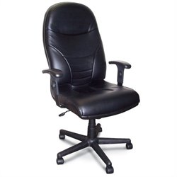 Mayline Comfort Excutive High Back Office Chair in Black Leather