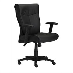 Mayline Mercado Black Genuine Leather Conference Office Chair
